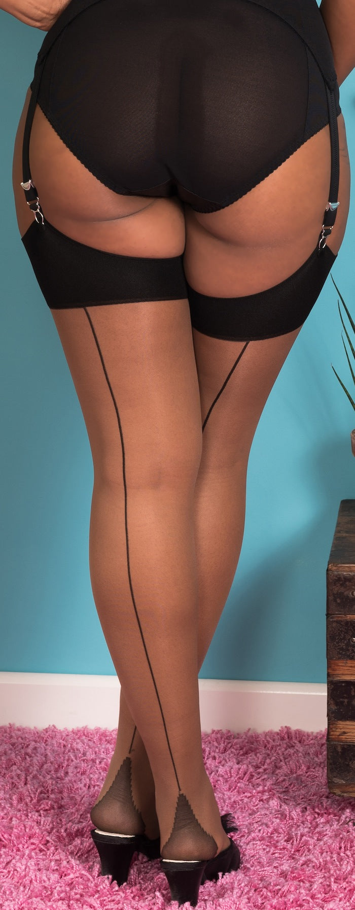 Black on Nutmeg Glamour Seamed Stockings