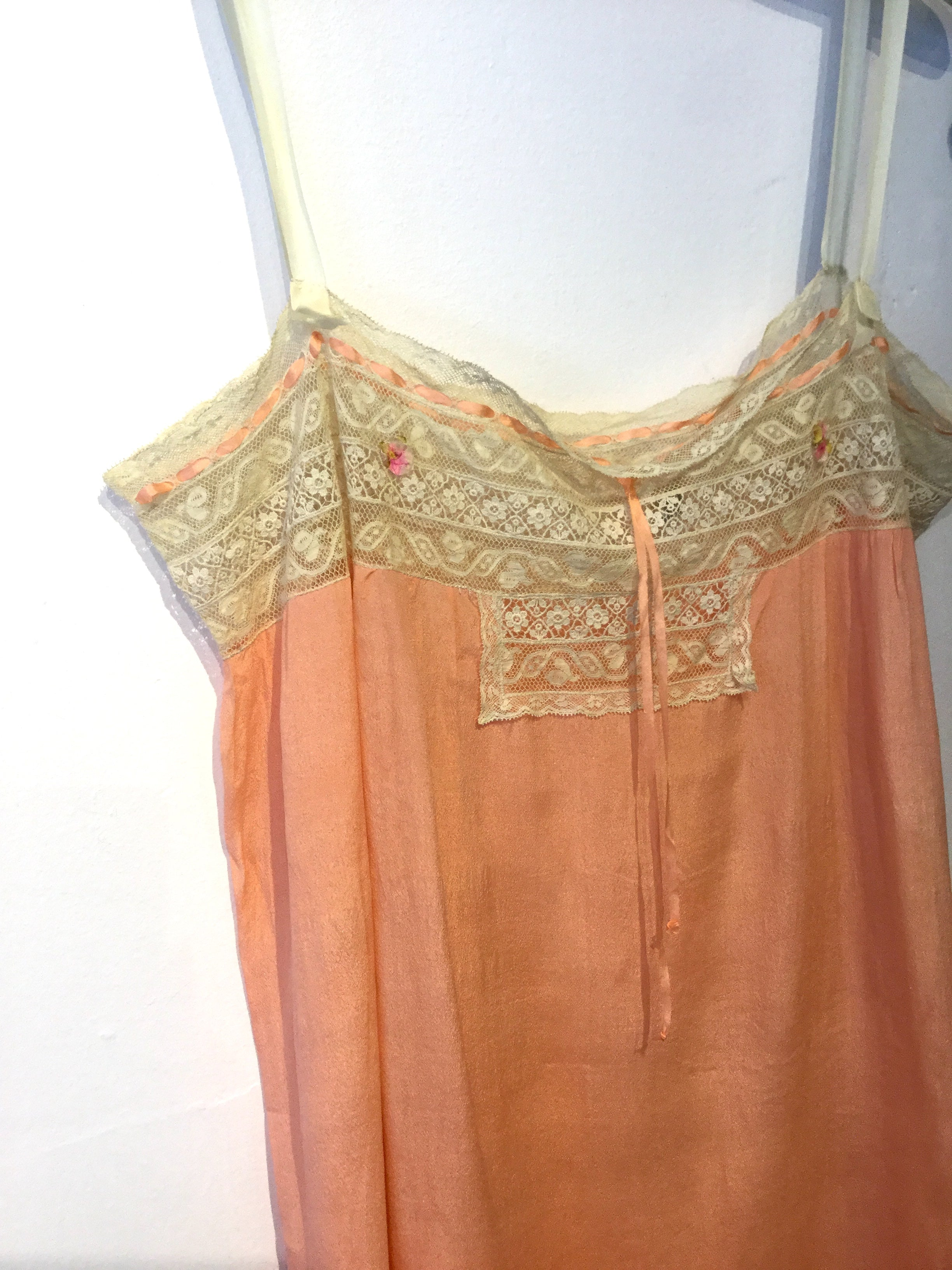 Bright Peach 1920's Silk Step-in with Pink Flowers M #073