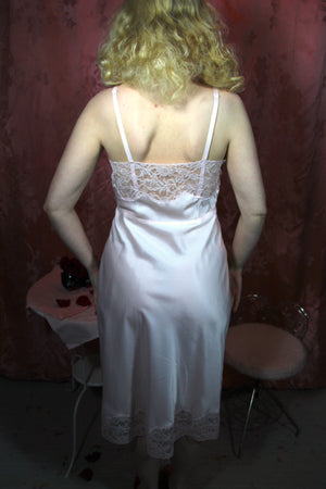 """Heavenly Silk"" by Fischer Pink Silk and Lace Slip size 34/M #018"