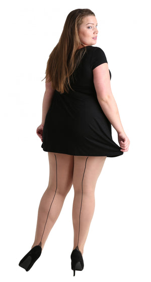 Plus Size Black on Light Beige Seamed Tights - sizes 12-20