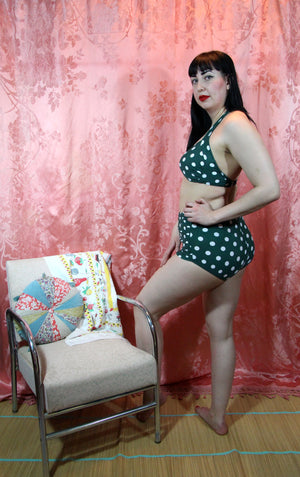Green and White Polka Dot Bikini