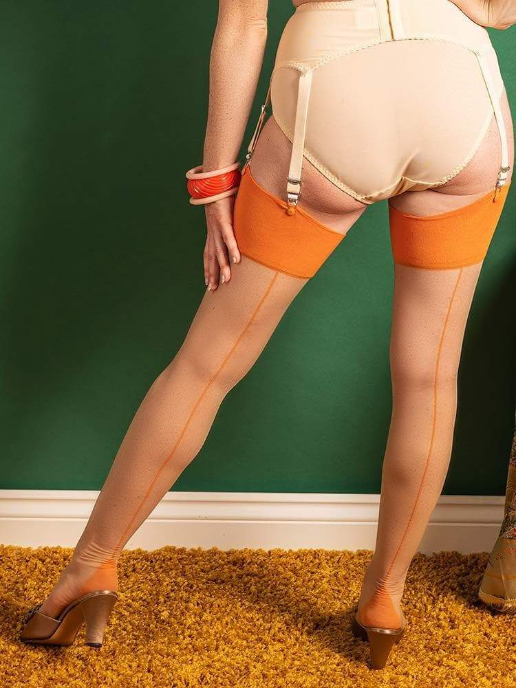 Pumpkin on Champagne Glamour Seamed Stockings