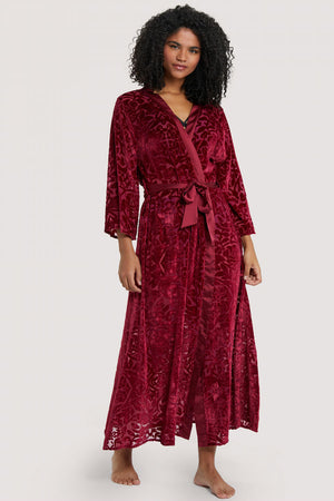 FFFB Devore Dressing Gown in Wine - sizes 12, 14, 16 + 22 left!