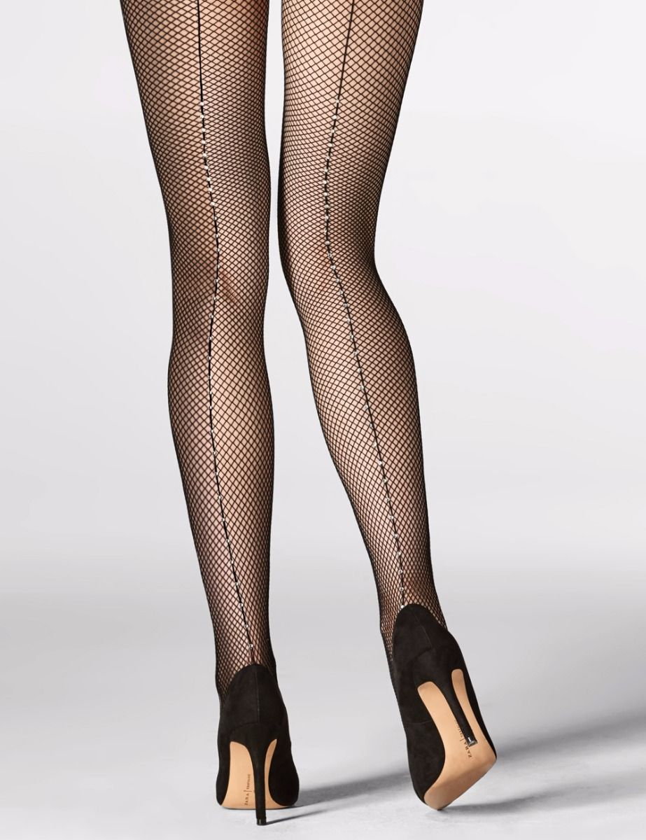 Cabaret Rhinestoned Back Seam Fishnet Tights