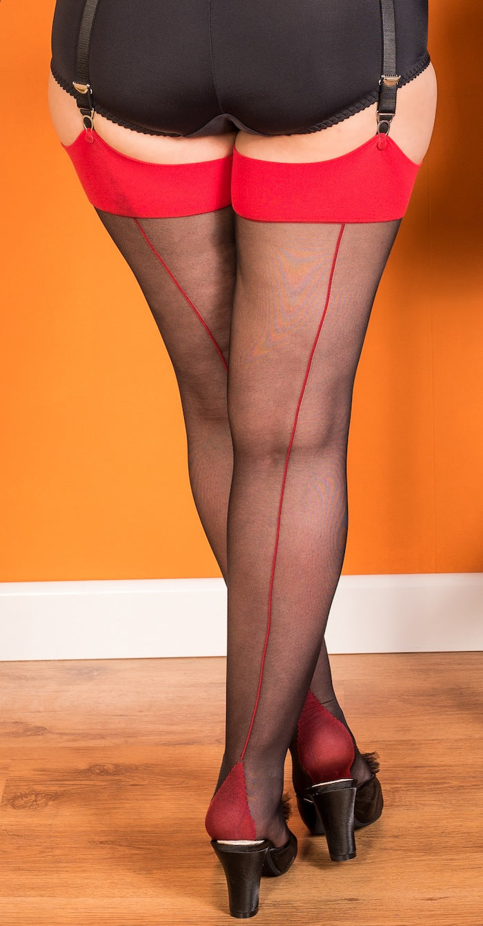 Red on Black Backseam Stockings