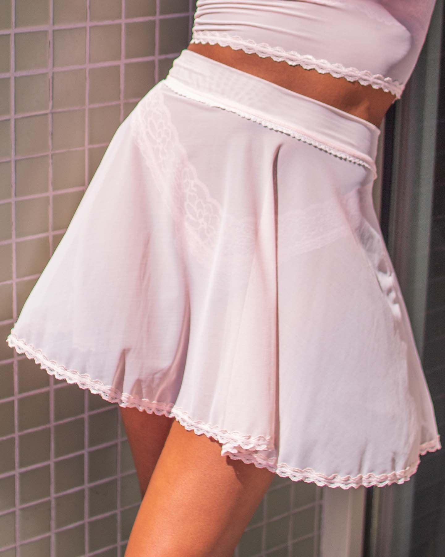 Sheer Flounce Skirt in Pale Pink - XS-3X