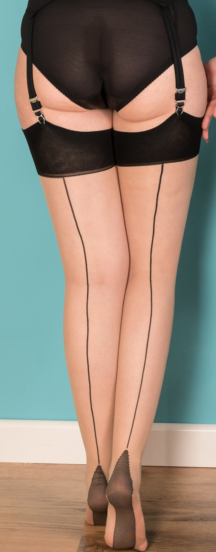 Glamour Stockings in Champagne with Black Seams
