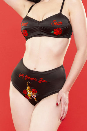 Retro Embroidery Brief - only size 14 left!