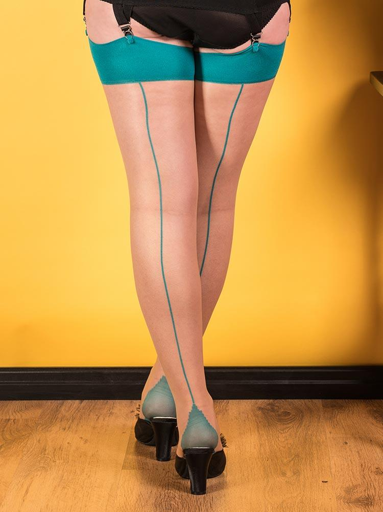 Teal on Champagne Glamour Seamed Stockings