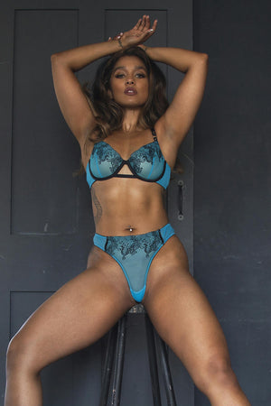 Electric Blue Tiger Bra - sizes 32A/30E-44H