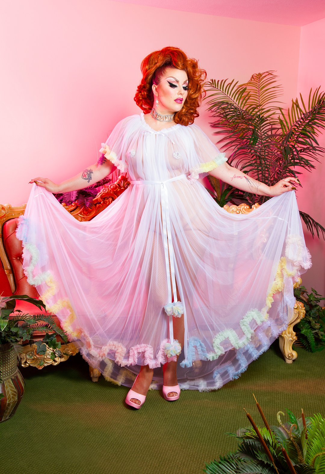 Showgirl Special Dressing Robe - Unicorn Rainbow