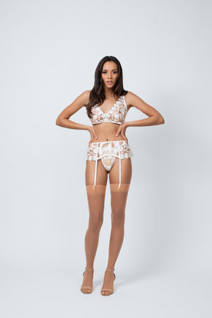 Kilo Brava White Butterfly Embroidered G-String - sizes S-XXXL