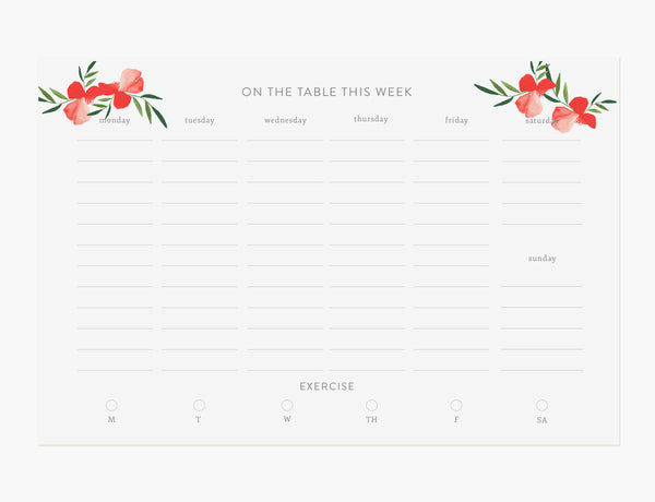 Red Poppy Meal Planner Weekly Notepad