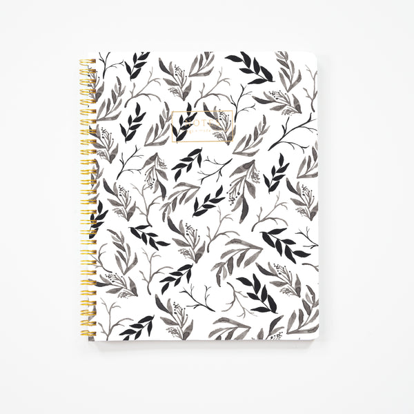 Black Floral Notebook