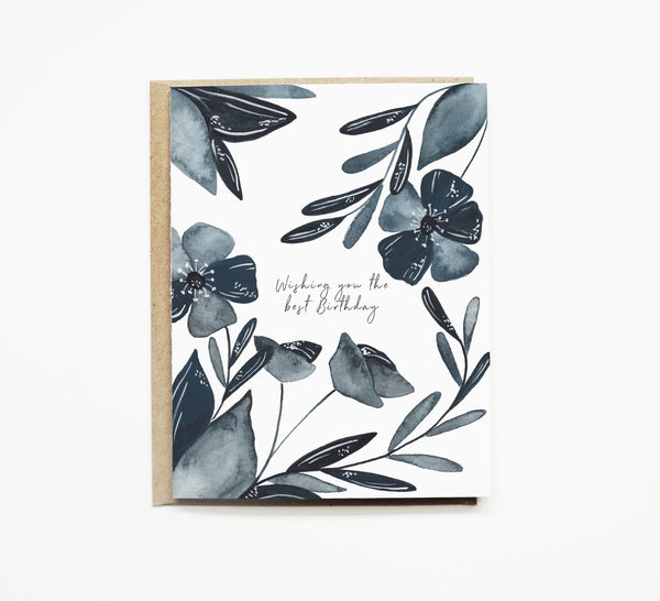 Blue Floral Birthday Card
