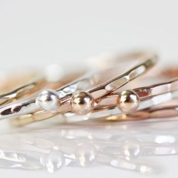 Mixed Metal Nugget Stacking Rings