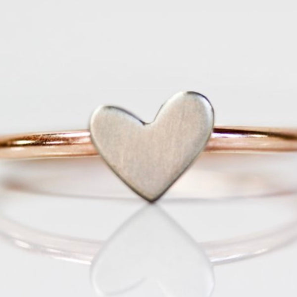 Fine Metal Rose Gold and Silver Heart Ring
