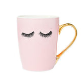 Pink Eyelashes Gold Coffee Mug