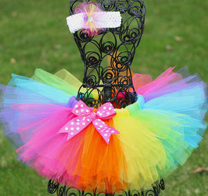 uwt- 2017 Dill Kids Live Girls Rainbow Tutu Skirts Handmade Tulle Pettiskirt with Polka Dots Bow and Flower Headband
