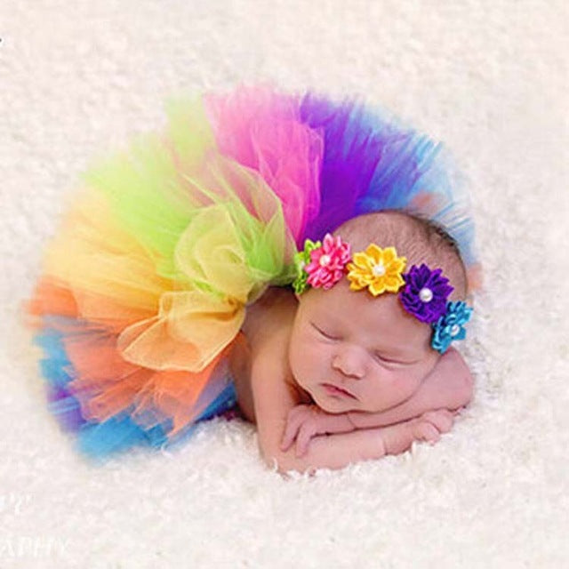 Y- Dill Kids Party - Rainbow Color Baby Girls Tutu Skirt w/ Flowers Headband