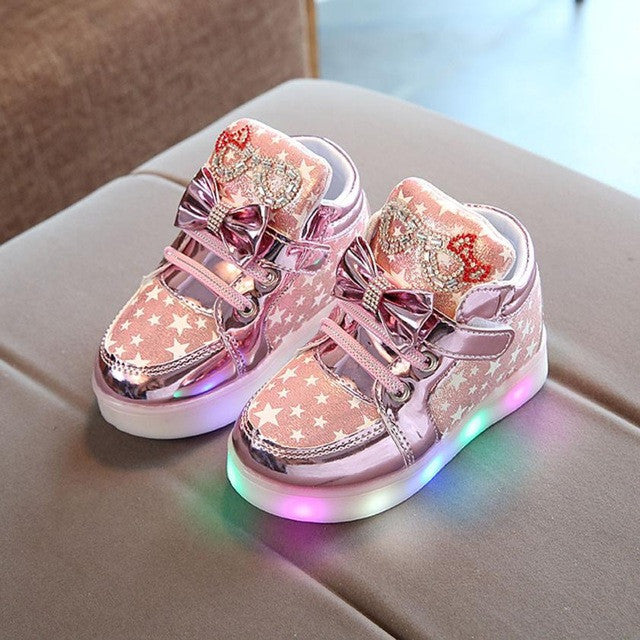 zuw- Dill Kids Live Casual Lighted  Star Print Shoes With Led Light