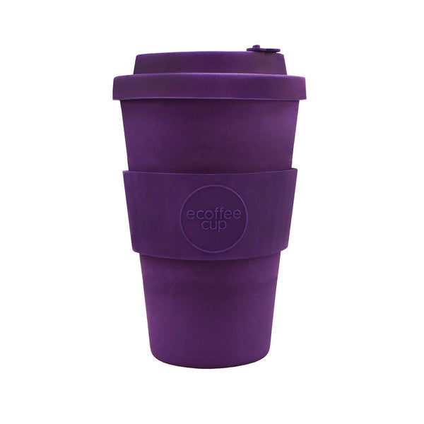Reusable coffee cup made from natural bamboo fibre – Ecoffee cup purple 400ml