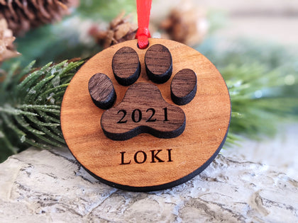 2021 Personalized Pawprint Ornament