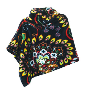Winterport Wrap Fleece Poncho with Funnel Neck in Boho Floral Medallion