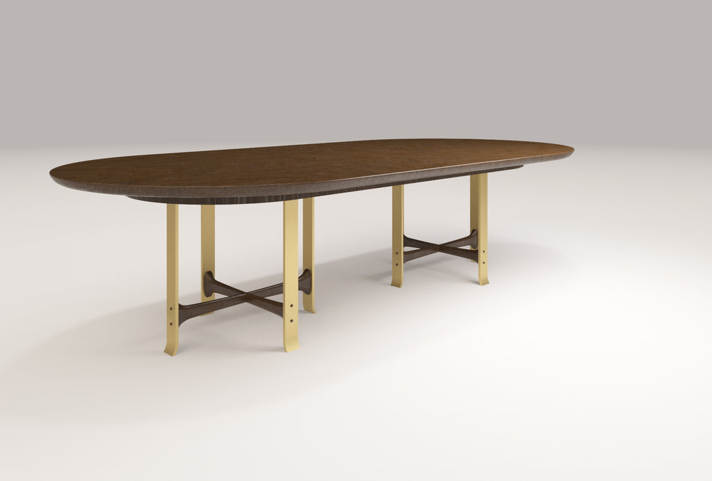 Marisa Double Pedestal Dining Table - Racetrack Top