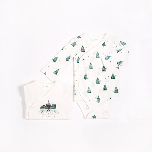 Festive Trees  Diaper Shirt Set