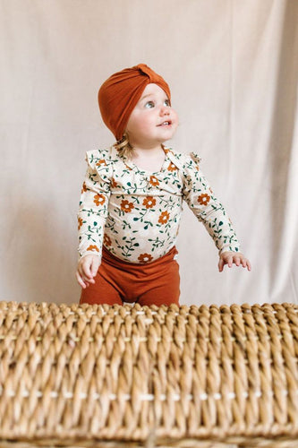 Long Sleeve Bodysuit with Frill - Flower Vine