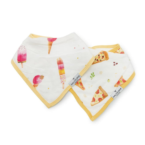 Muslin Bandana Bib Set - Ice Cream/Pizza