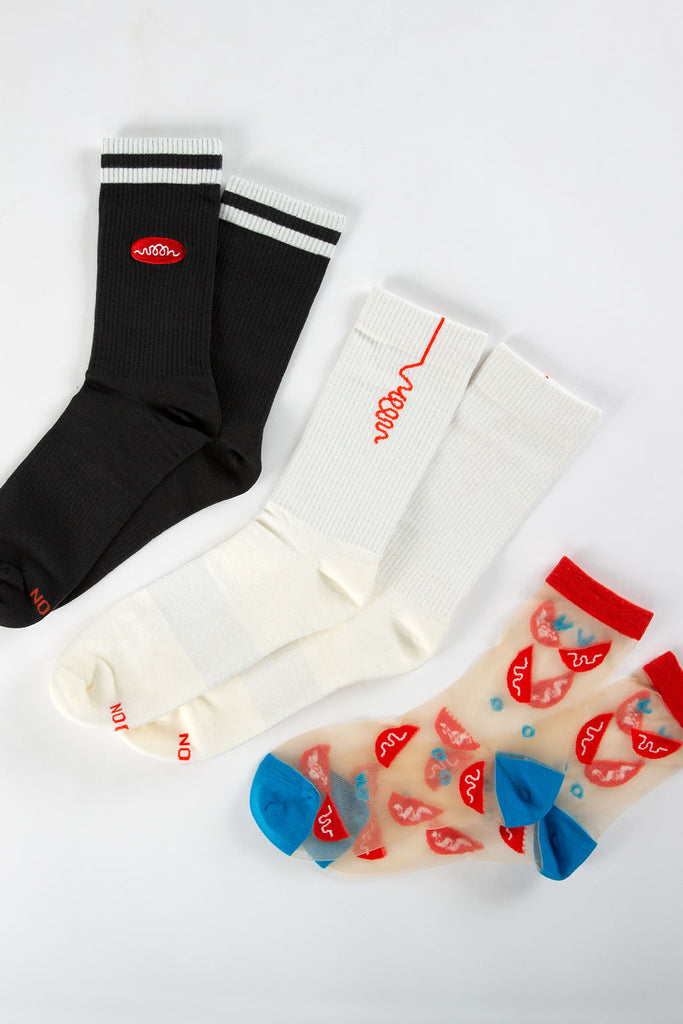 woon kitchen mens white tube sock orange logo with food