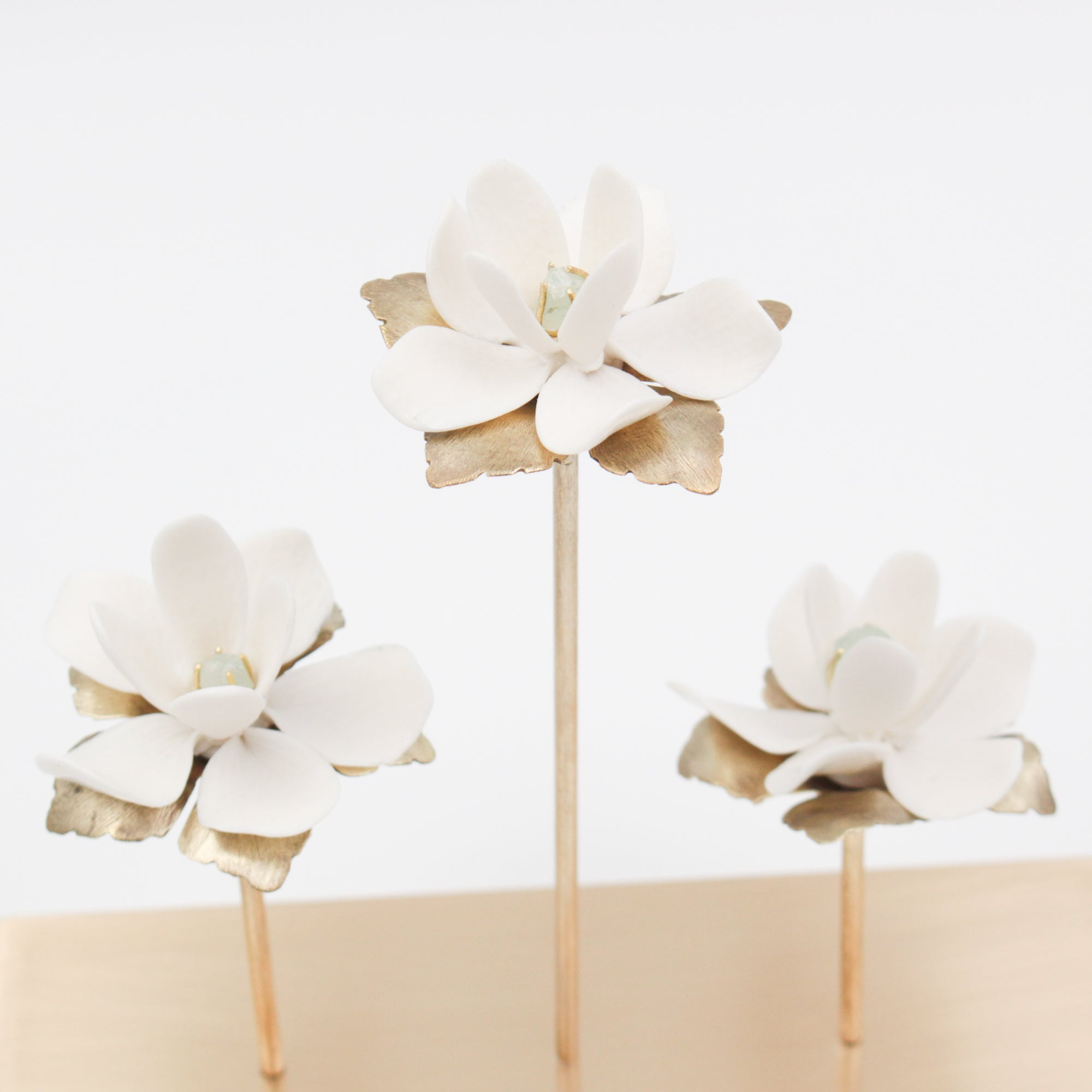 Porcelain and Aquamarine Magnolia Flower for Interior Decoration -Handmade in France by Alain Granell - Home Decoration