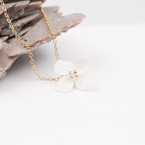 Porcelain Hydrangea Necklace - Minimalist Jewelry by Alain Granell
