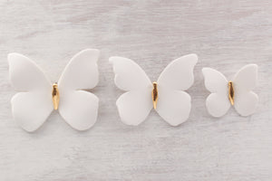 Porcelain and Gold Butterflies for Wall Decoration - handmade by Alain Granell in France - Home Decoration