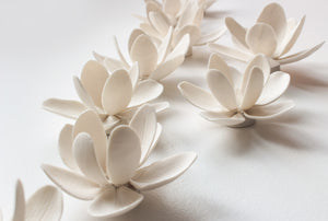 Wall Decor of Porcelain Magnolias - Handmade Porcelain Flowers for Interior and Event Decoration - Made in France by Alain Granell – Home and Wall Decoration