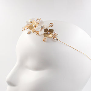 Bridal Headband in Porcelain and Brass - Made in France by Alain Granell