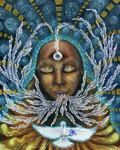 spiritual art, white dove with an Iris flower, the breath of life, feminine rising