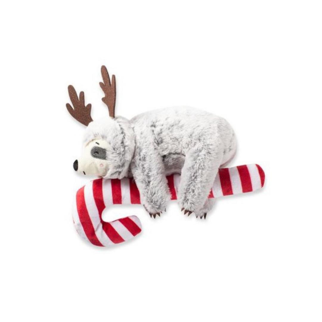 Candy Cane Sloth-Plush Dog Toy-Gift Spawt