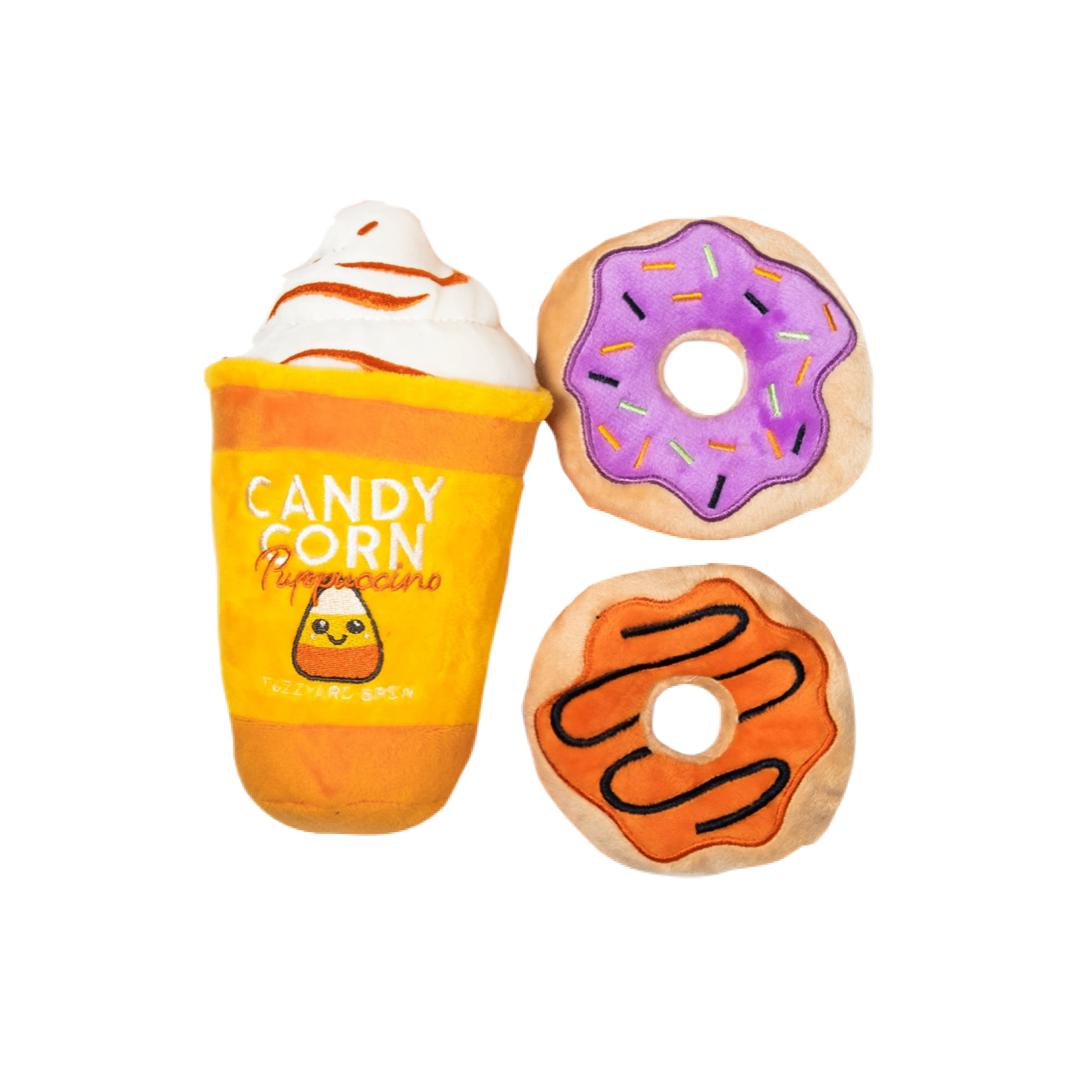 Candy Corn Puppuccino and Donuts Toy Set-Plush Dog Toy-Gift Spawt