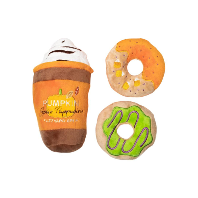 Pumpkin Spice Puppuccino and Donuts Toy Set-Plush Dog Toy-Gift Spawt