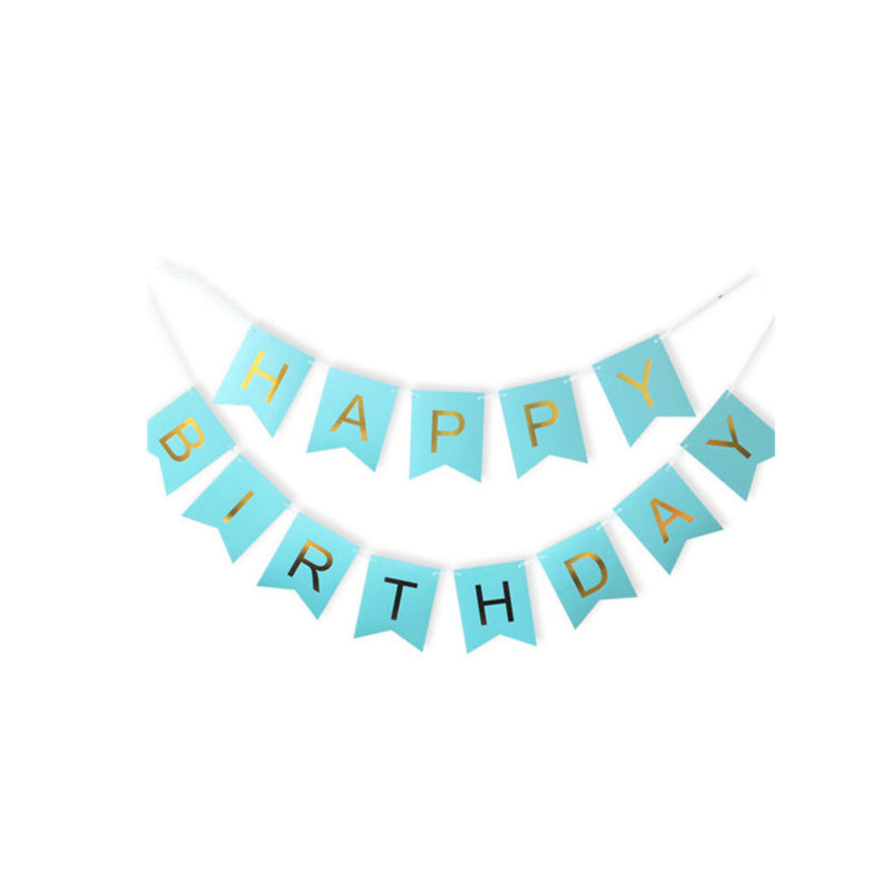 Foil Happy Birthday Banner - Blue and Gold-Banner-Gift Spawt