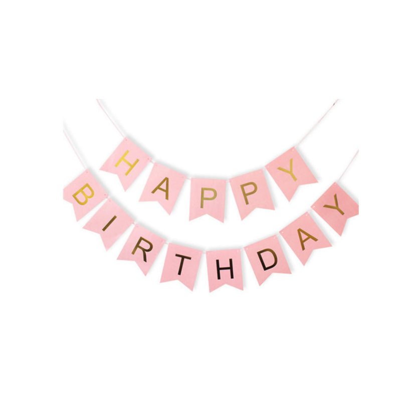 Foil Happy Birthday Banner - Pink and Gold-Banner-Gift Spawt