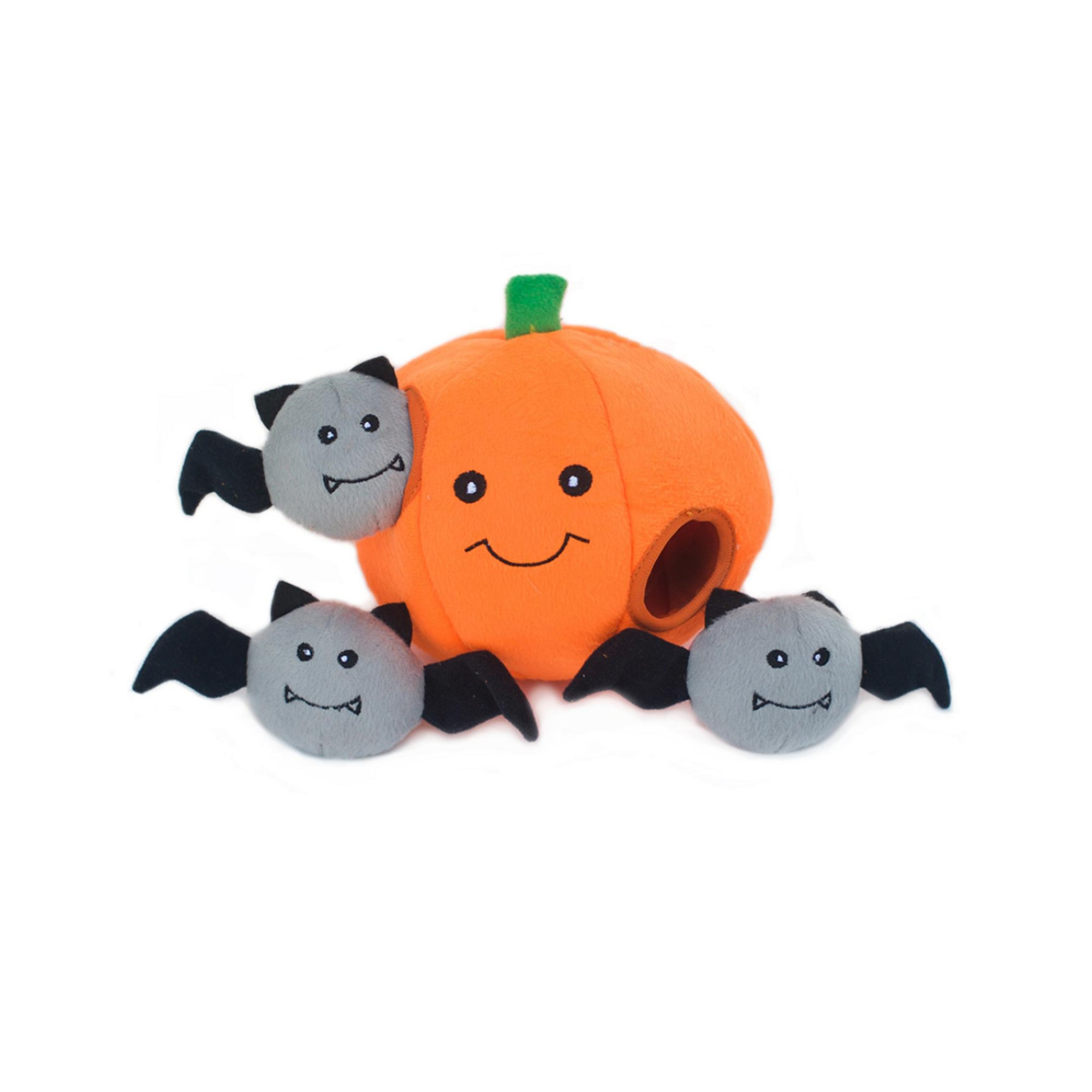 Zippy Burrow - Pumpkin and Bats-Plush Dog Toy-Gift Spawt