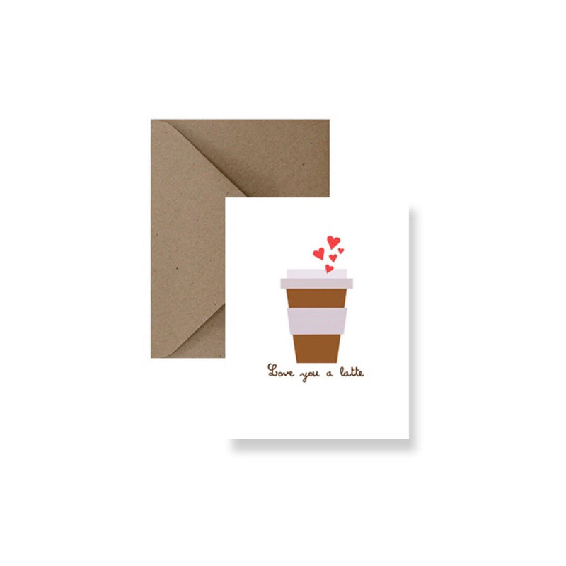 Love You A Latte Valentine's Card-Greeting Card-Gift Spawt