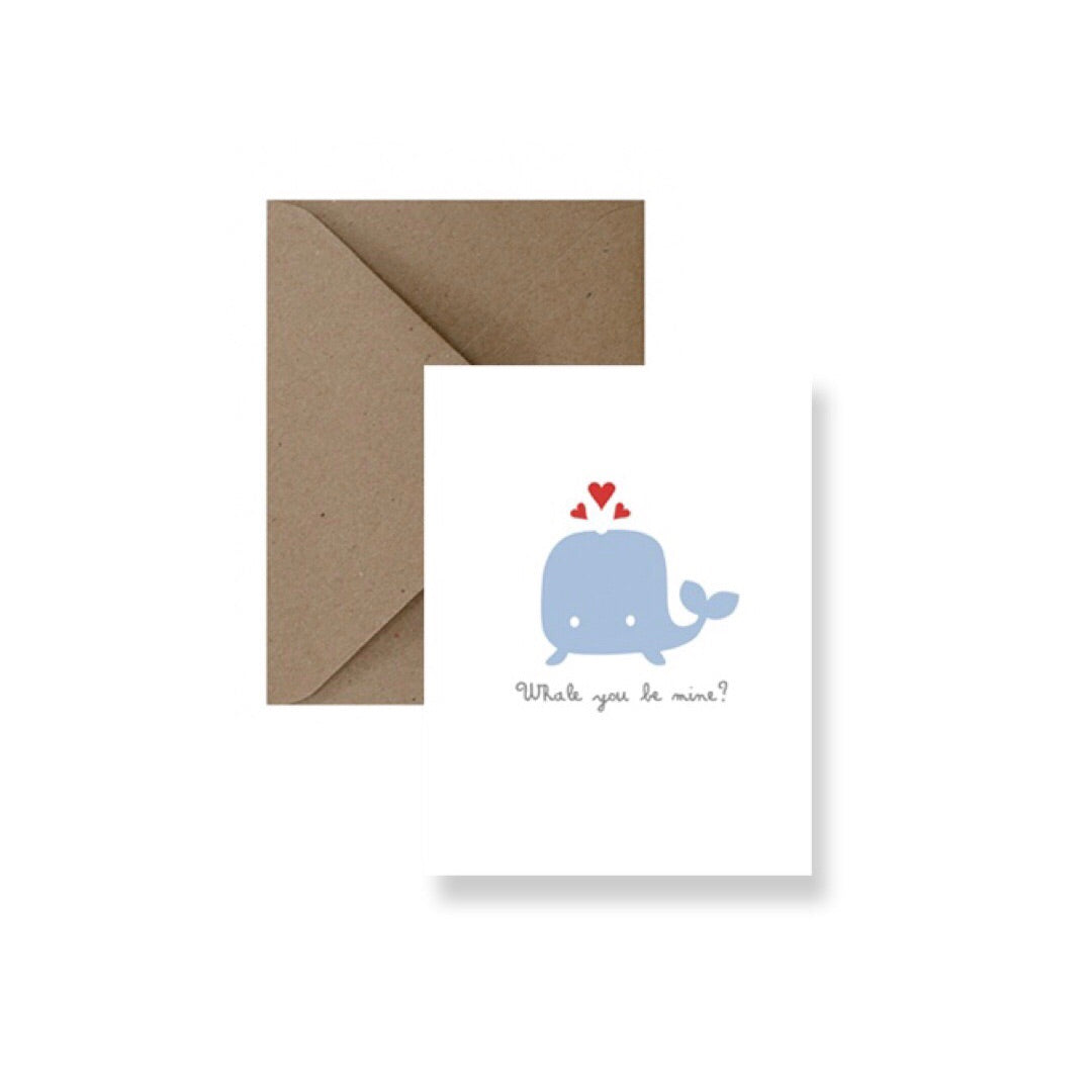 Whale You Be Mine Valentine's Card-Greeting Card-Gift Spawt