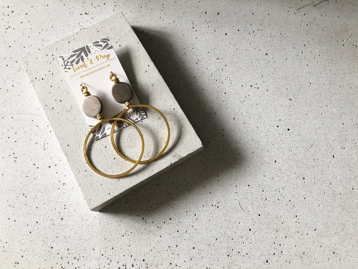 Grey & Gold Hoops Earring Set