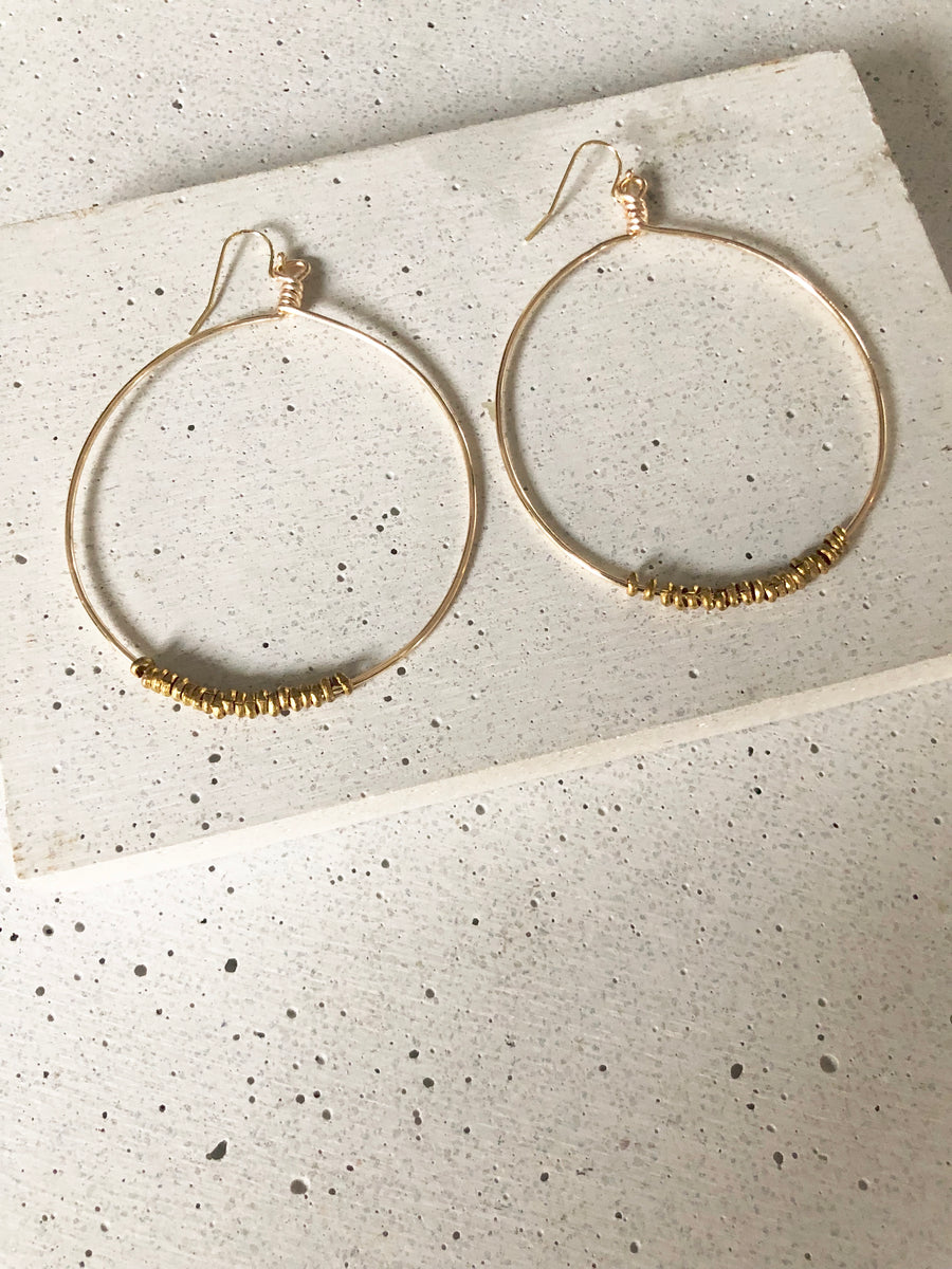 Brass Hoops Earring Set