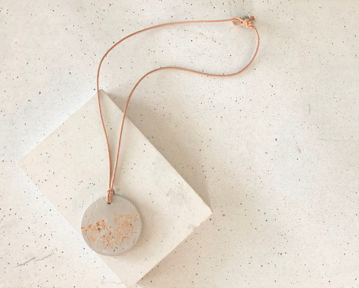 Gold Foil Concrete Round Pendant Necklace
